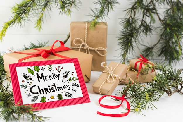 Letter mockup with christmas concept