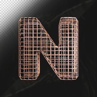 철사 프레임으로 만든 현실적인 금속 질감으로 문자 n 3d 렌더링