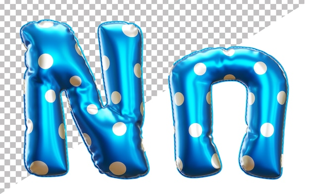 Letter n alphabet in 3d rendering with upper case and lower case