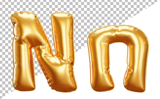 Буква n алфавит из золотой фольги в верхнем и нижнем регистре в стиле 3d