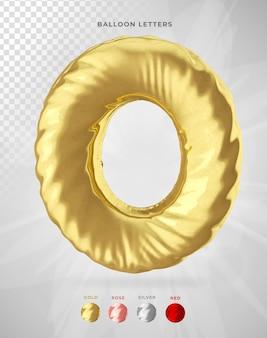 Буква o в 3d-рендеринге воздушного шара изолирована