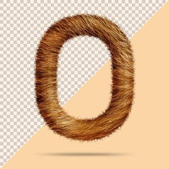 Буква o с реалистичным 3d мехом