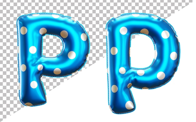 Letter p polka dots helium foil balloon alphabet with uppercase and lowercase