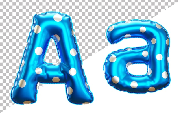 Letter a polka dots helium foil balloon alphabet with upper case and lower case