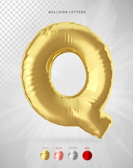 Letter q in 3d rendering of balloon isolated