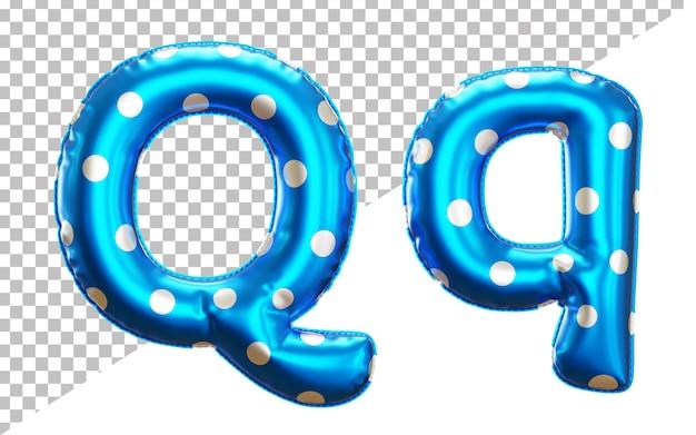 Letter q polka dot foil balloon alphabet in 3d style uppercase and lower case