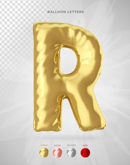Letter r in 3d rendering of balloon isolated