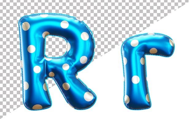 Letter r polka dots helium foil balloon alphabet with upper case and lower case