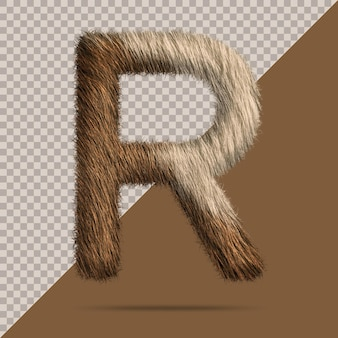 Letter r with realistic 3d fur