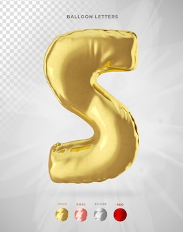 Letter s in 3d rendering of balloon isolated