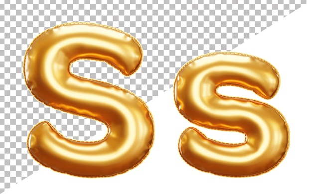 Буква s алфавит из золотой фольги в верхнем и нижнем регистре в стиле 3d