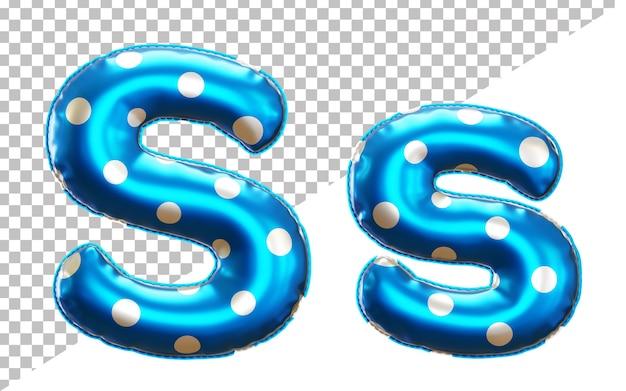 Letter s polka dot foil balloon alphabet in 3d style uppercase and lower case