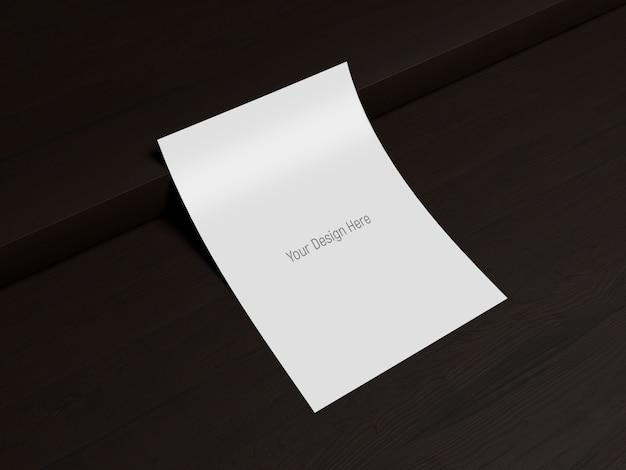 Letter size mockup - dark wood background
