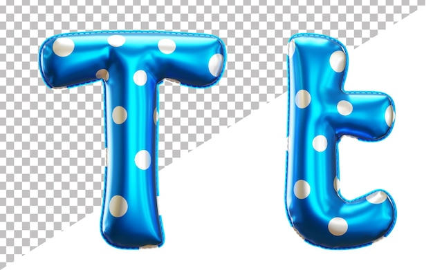 Letter t polka dots helium foil balloon alphabet with uppercase and lowercase