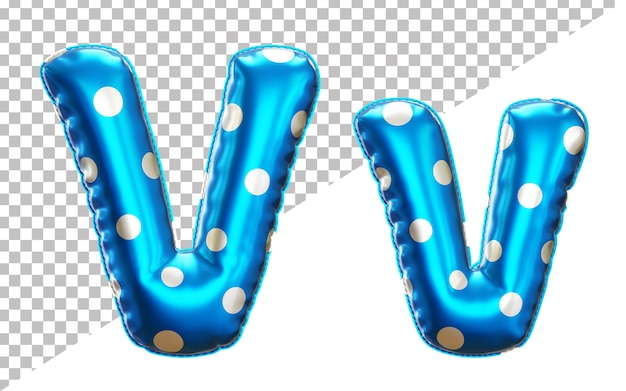 Letter v polka dots helium foil balloon alphabet with uppercase and lowercase