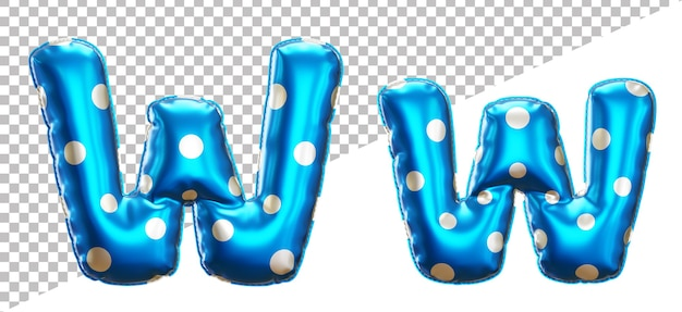 Letter w polka dot foil balloon alphabet in 3d style uppercase and lower case