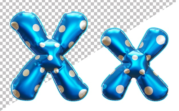 Letter x alphabet in 3d rendering with upper case and lower case