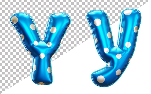 Letter y polka dot foil balloon alphabet in 3d style uppercase and lower case