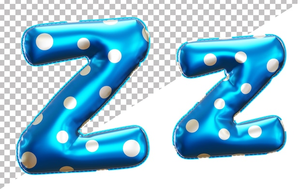 Letter z alphabet in 3d rendering with upper case and lower case