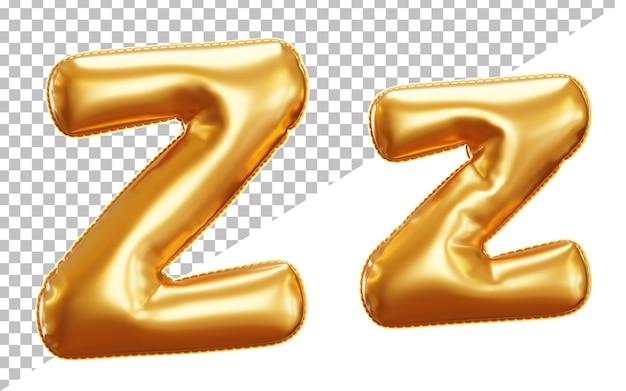 Letter z gold foil balloon alphabet in 3d style uppercase and lower case