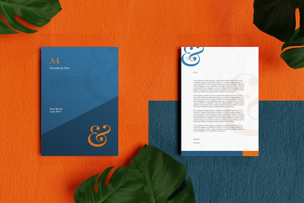 Letterhead a4 document and stationery mockup in orange and blue floor