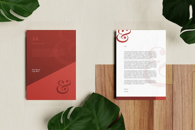 Letterhead a4 document and stationery mockup