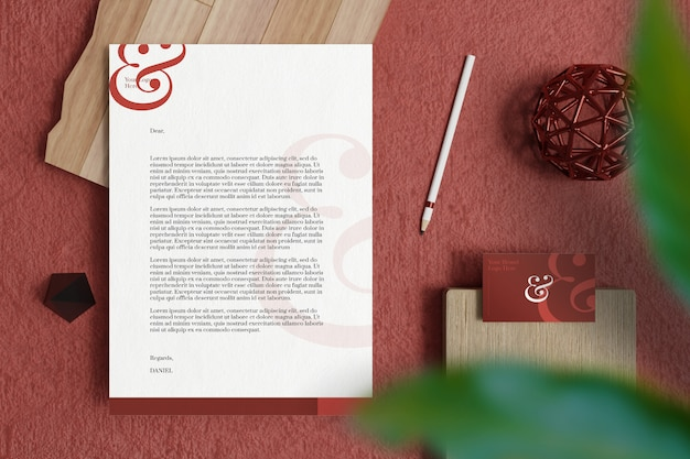 Letterhead a4 document with business card and stationery mockup