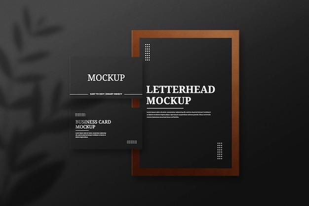 Макет фирменного бланка и визитки с кожаным декором