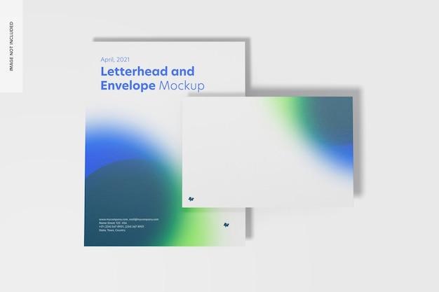 Бланк и макет конверта, вид сверху Бесплатные Psd