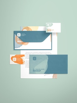 Letterhead and business card layout mockup