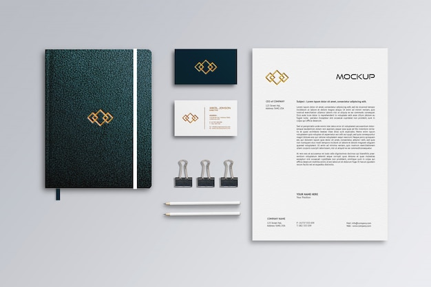 Letterhead, business card & leather notebook mockup