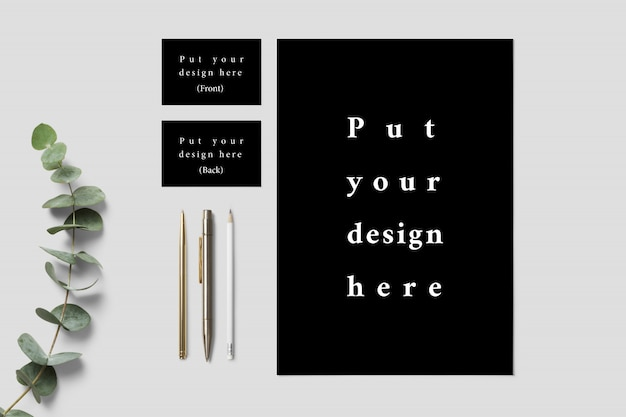 Letterhead and business card mock up