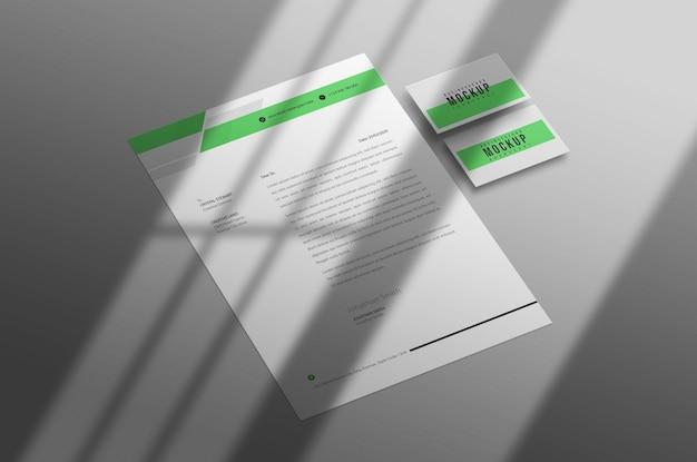 Letterhead and business card mockup psd