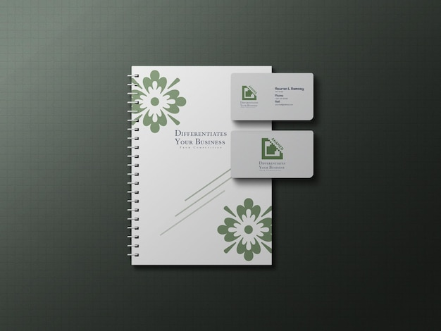 Letterhead and business card top view branding mockup