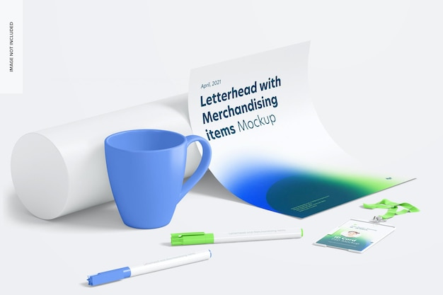 Letterhead and merchandising items mockup, side view