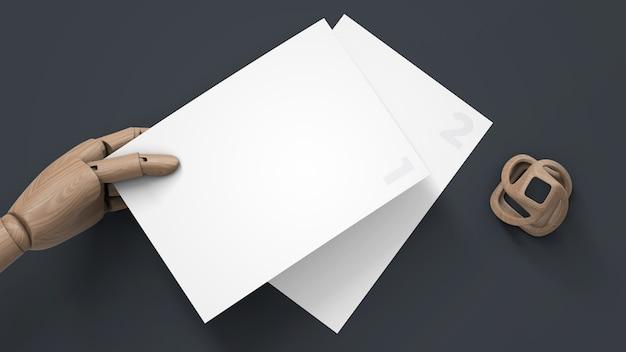나무 인형 손에 편지지 모형