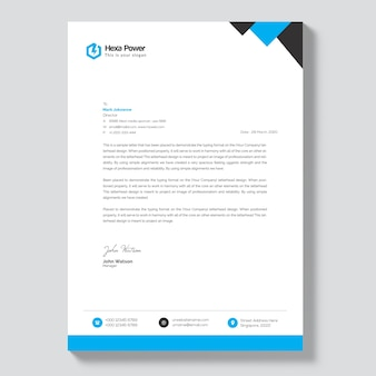 Letterhead mockup with blue and black shapes