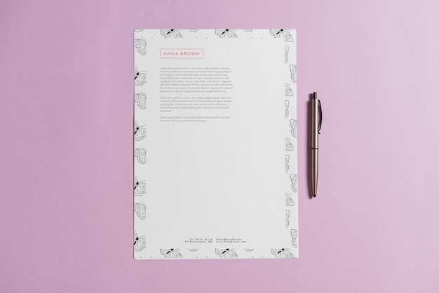 Letterhead mockup with pen
