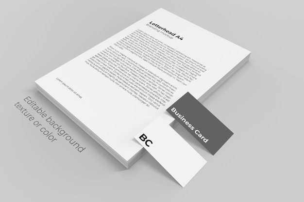 Letterhead paper sheets stack mockup with business cards
