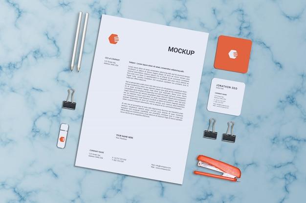 Letterhead & square business card mockup