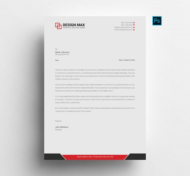 Letterhead template red