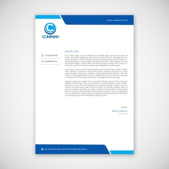 Letterhead template with blue elements