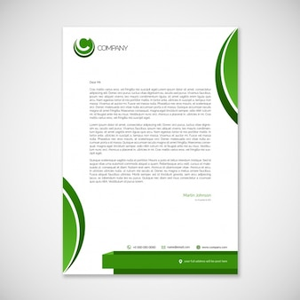 Letterhead template with green elements