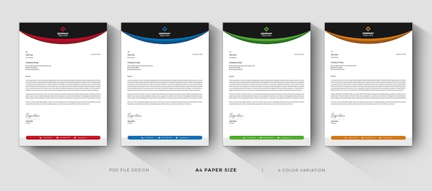 Letterhead templates professional design with color variation