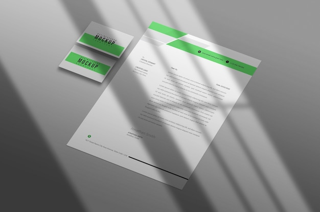 Letterhead with business card mockup psd