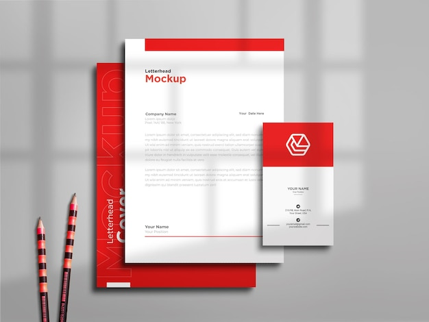 Letterhead with business card mockup