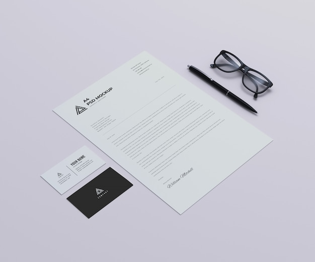 Letterhead with business cards mockup