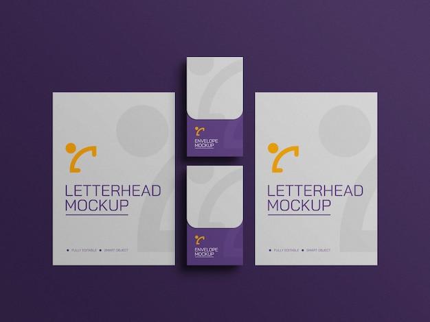 封筒のひな形のモックアップ付きレターヘッド