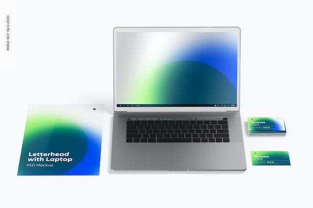 ノートパソコンのモックアップ、正面図のレターヘッド