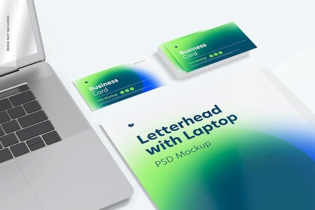 ノートパソコンのモックアップ付きレターヘッド、展望